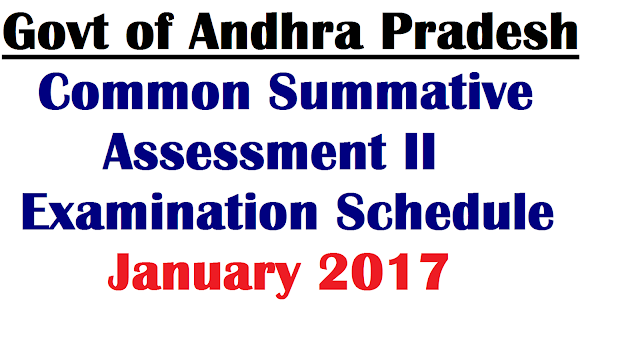 AP SCERT Common Summative Assessment II Examination Schedule January 2017| SA II Examination Schedule January 2017/2016/12/ap-scert-common-summative-assessment-ii-Examinations-timetable-Schedule-January-2017-download.html