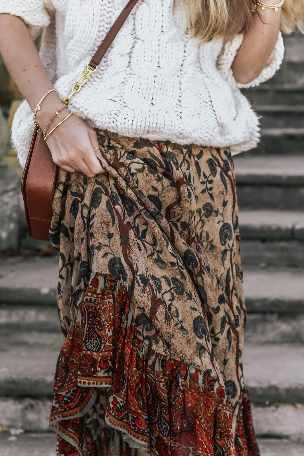 Zara Brown Frilled Floral Midi Skirt
