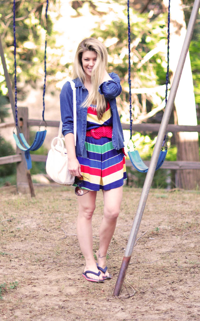 retro rainbow summer dress