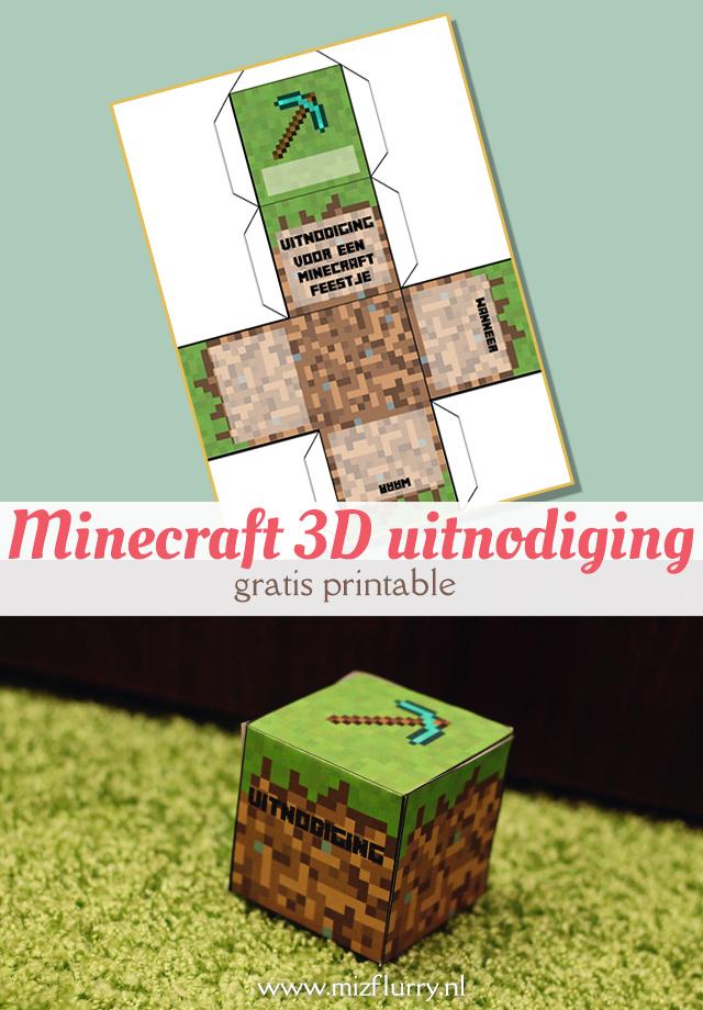 Maak zelf een gave Minecraft 3D uitnodiging van papier met behulp van deze gratis printable. Leuk idee voor een kinderpartijtje, verjaardag of ander Minecraft feestje.