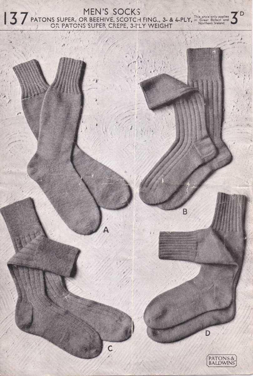 Free Vintage Knitting Patterns 1950s : The Vintage Pattern Files: 1950s Knitting - Men s Socks