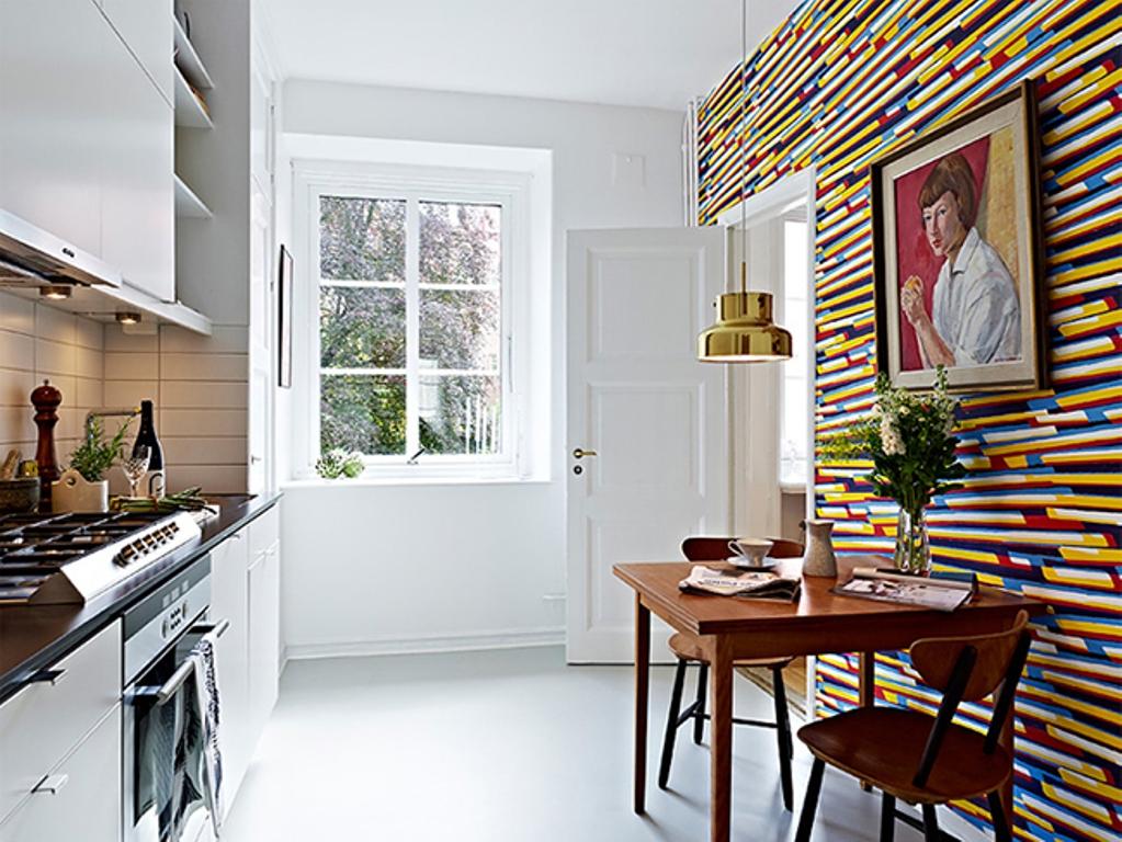 Parede estampada na cozinha reciclar e decorar blog de - Papel para paredes de cocina ...