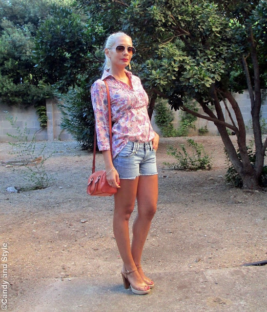 AviatorShades+PaisleyShirt+DenimShorts+ChunkyHeels+MiniBag+HighPonytail+RedLips - Lilli Candy and Style Fashion Blog