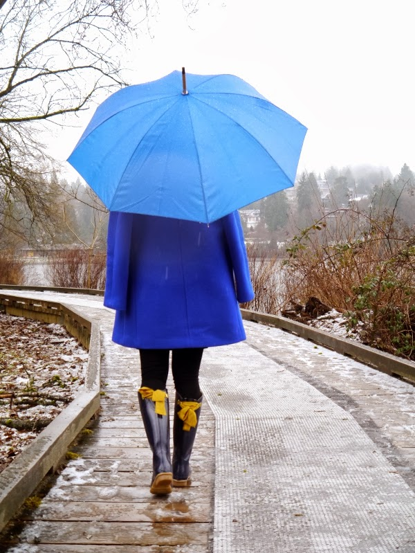 Cobalt blue cocoon coat and umbrella, wellies with bows