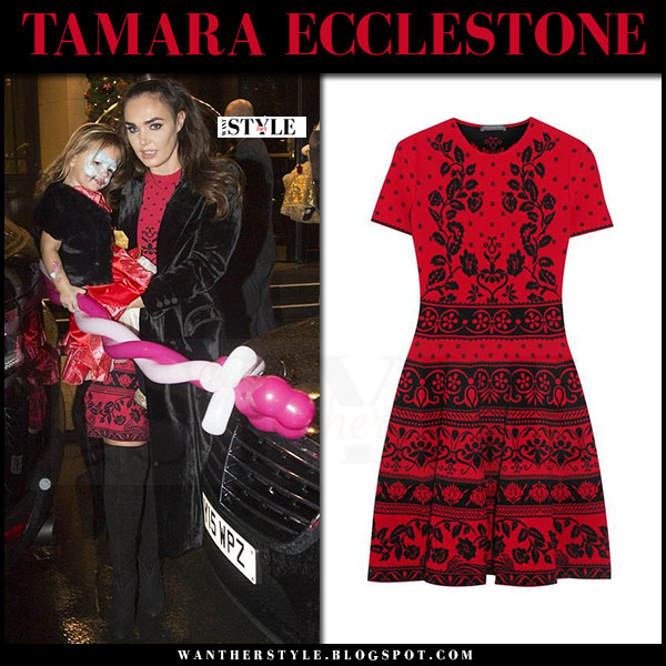 Tamara Ecclestone in red knit floral mini dress alexander mcqueen what she wore