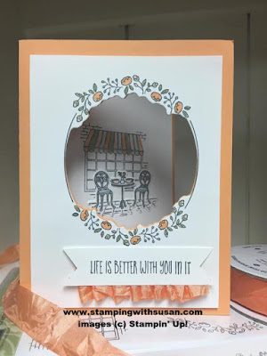 Stampin' Up! Charming Cafe Peek a boo Peach crinkle ribbon Cafe Builder Framelits