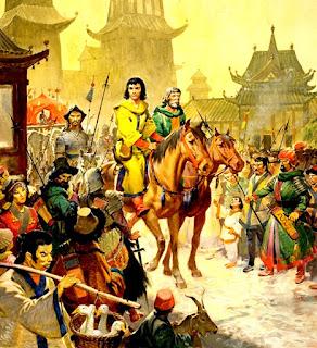 Recreación de la entrada de los hermanos Polo y Marco en la ciudad de Khanbaliq.