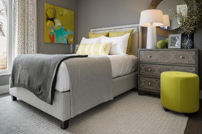 yellow green accents, gray bedroom, texture