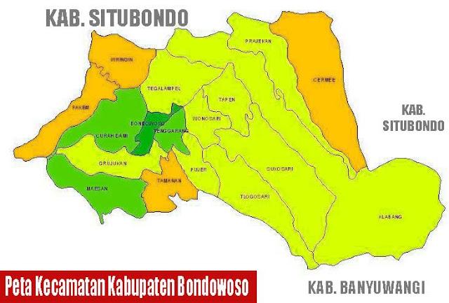 Gambar Peta Kecamatan Kabupaten Bondowoso