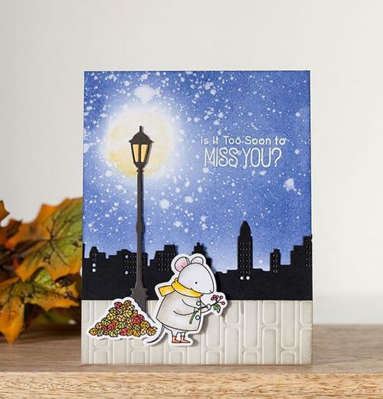 Handmade card from Anna Kossakovskaya featuring Birdie Brown Harvest Mouse stamp set and Die-namics, Brick Wall Cover-Up, Skyline Border Die-namics, and Streetlights Die-namics #mftstamps