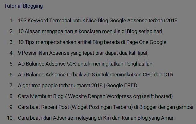 Cara buat daftar isi satu Label tertentu dalam Postingan Blog secara otomatis