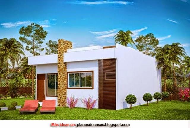 Plano de casa moderna de 69 m2 planos de casas gratis y for Modelo de fachadas de viviendas