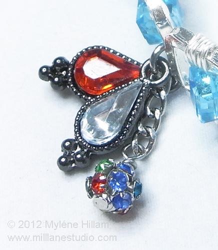 Crystal charm dangles