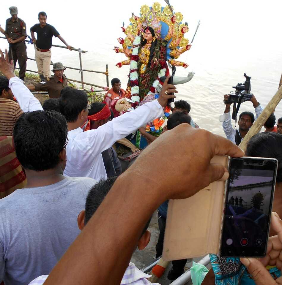 Immersion of Durga idols in Dhansiri River, Golaghat