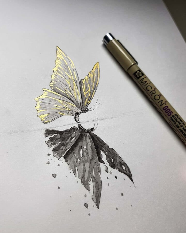 02-Golden-Butterfly-Kleevia-Animal-Art-www-designstack-co