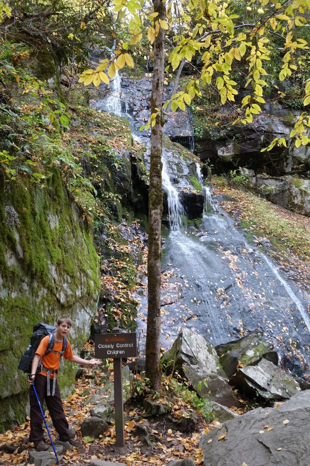 Aidan with waterfall
