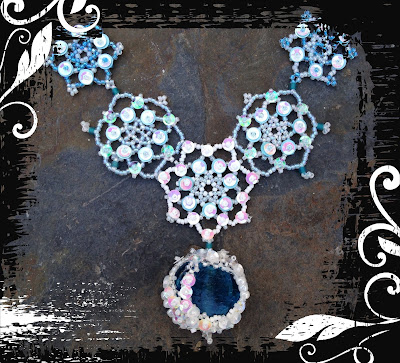 Snow Queen necklace, freeform RAW, beaded snowflakes, sequins