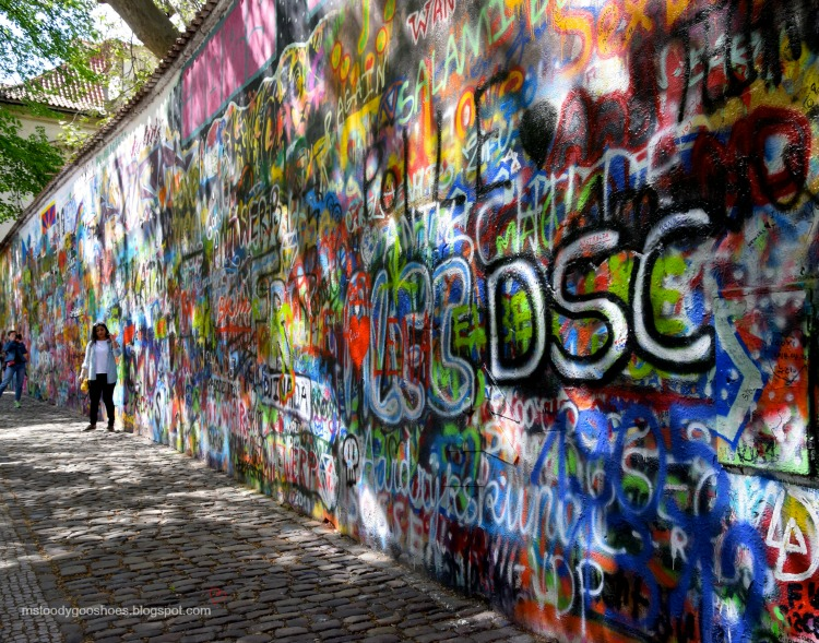 The John Lennon wall in Prague| Ms. Toody Goo Shoes #prague #johnlennonwall #danuberivercruise