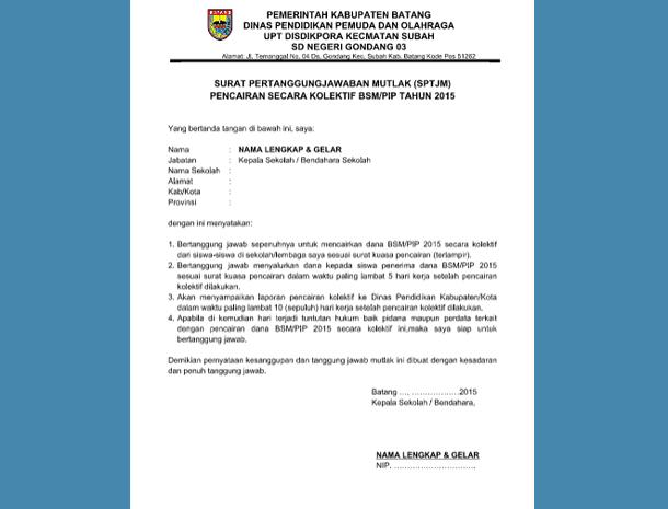 Contoh Surat Pertanggung Jawaban Mutlak (SPTJM) Pencairan Dana Secara Kolektif BSM-PIP
