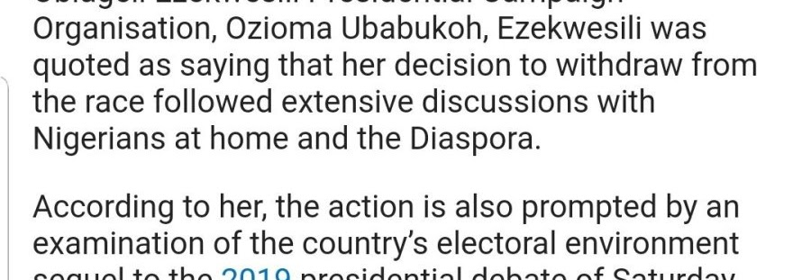 Breaking: Oby Ezekwesili Drops Down Presidential Bid To Join PDP
