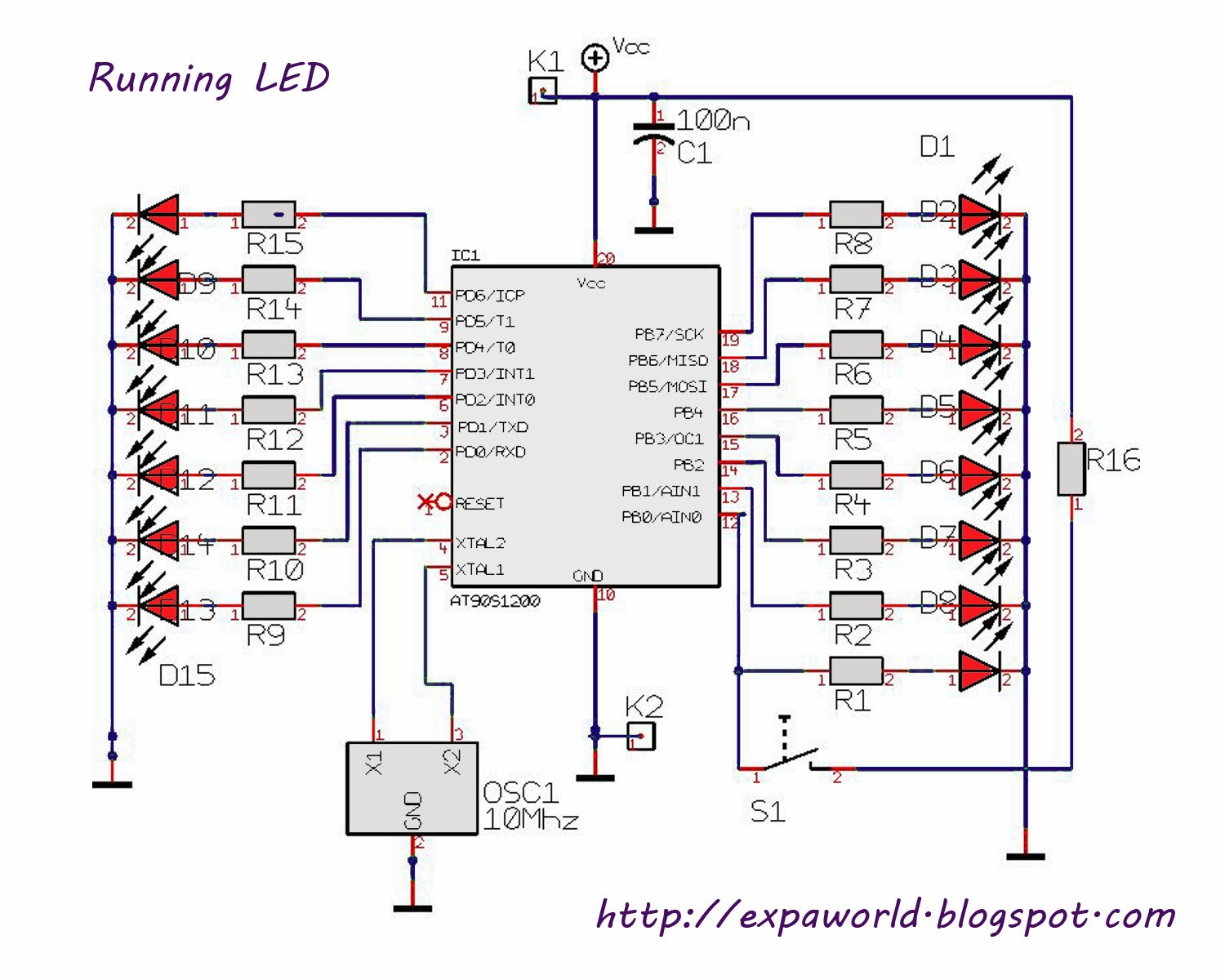BLOCK DIAGRAM OF LED CHASER
