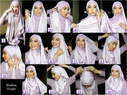 Tutorial Hijab memakai Jilbab Bahan Kain Satin Segi Empat Model Simple