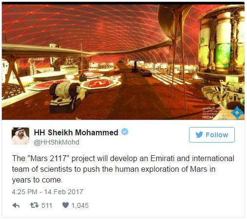 Emirados Arabes Unidos - tweets sobre colonização em Marte