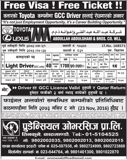 Free Visa, Free Ticket Jobs For Nepali In Qatar Salary- Rs.50,050/