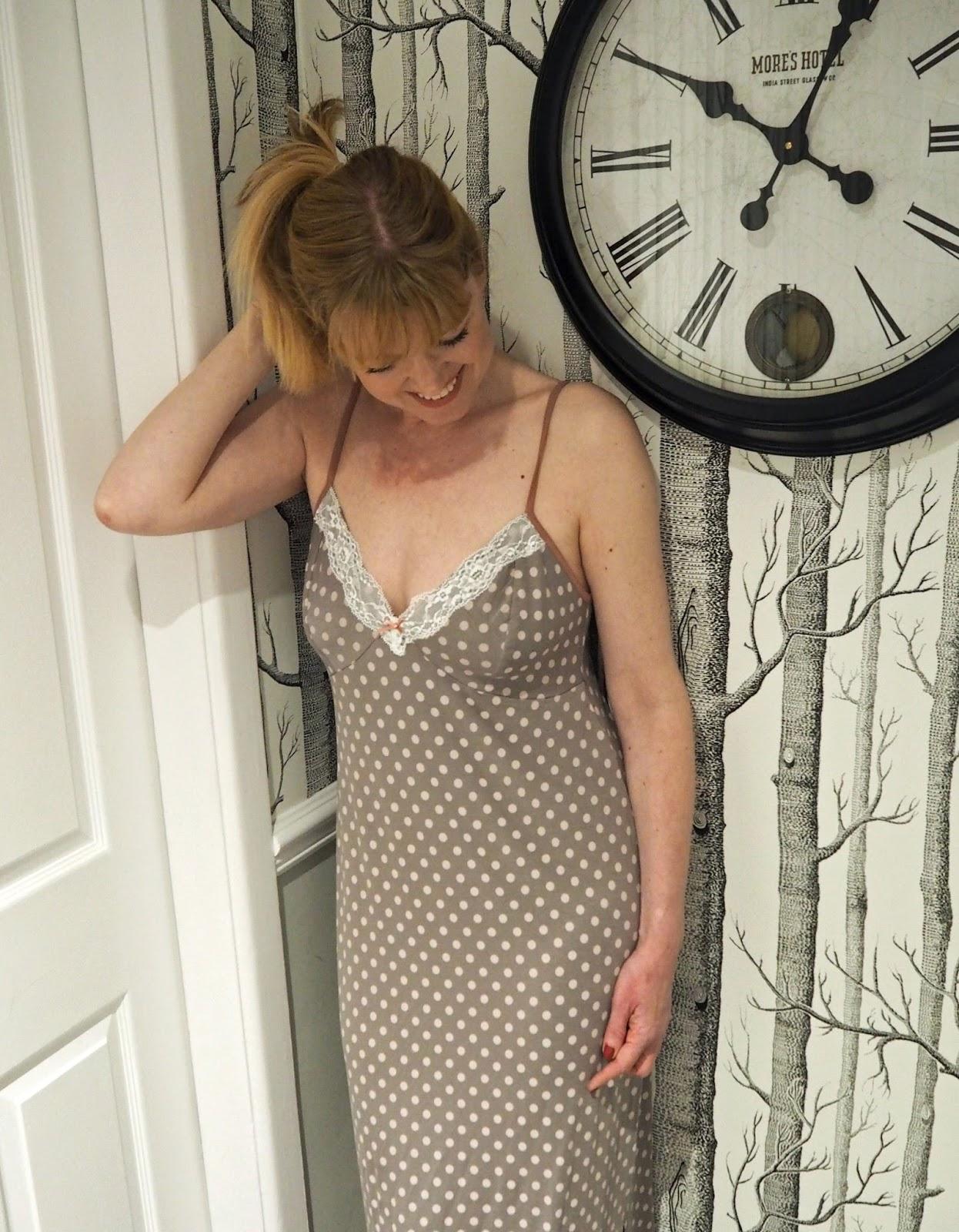 Blackspade noir Olivia spotted full length nightgown, at UK Lingerie
