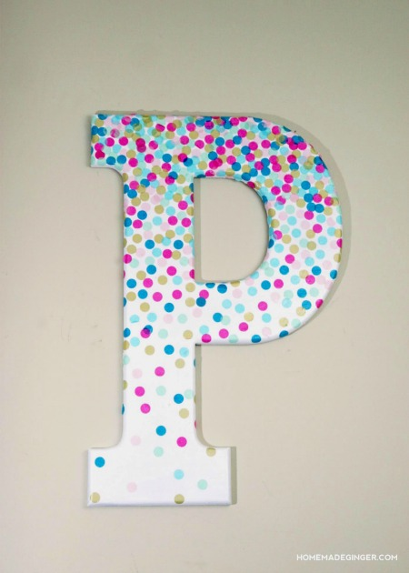 Confetti Decorative Letter Wall Art by Homemade Ginger on Mod Podge Rocks