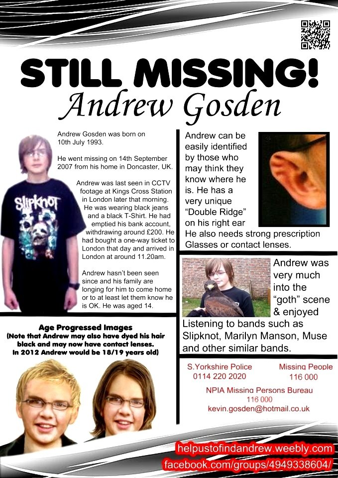 missing children, andrew gosden