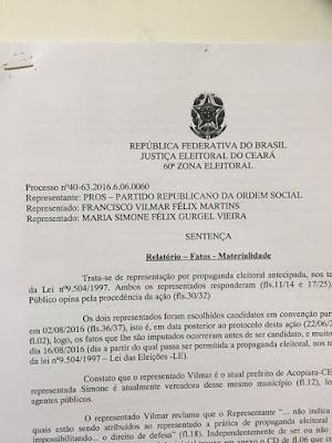 ACOPIARA-CE: PREFEITO E VEREADORA SÃO MULTADOS POR PROPAGANDA ELEITORAL ANTECIPADA
