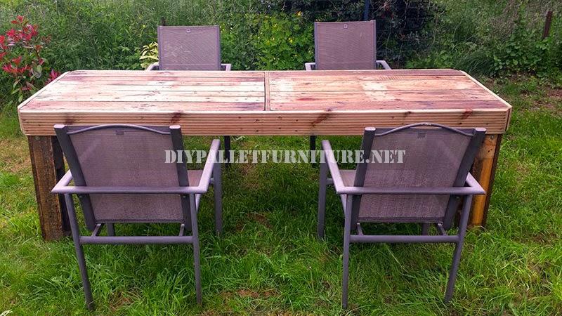 podis comprobar en las imgenes que no toda la mesa se ha construido con palets otros elementos de madera participan como las patas hechas con vigas de