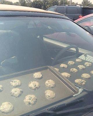 Auto Temperatur im Sommer - Plätzchen backen lustig - Hitze