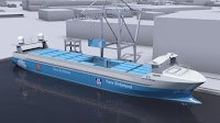 Autonomous, purely electric container ship (Credit: cleantechnica.com) Click to Enlarge.