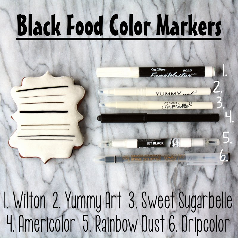 Black food color markers on a white cookie