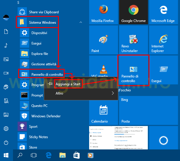Windows 10 aggiungere Pannello di controllo a menu Start