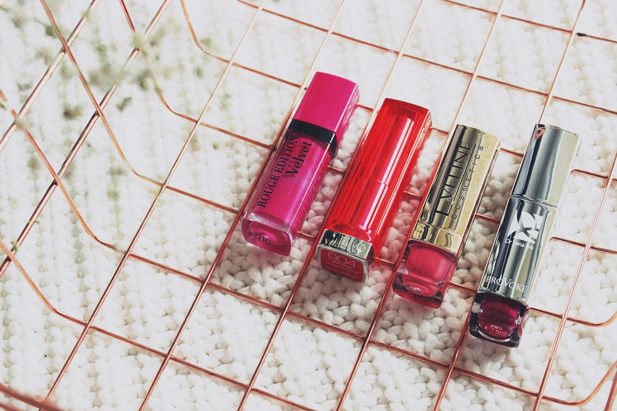 Bourjois Rouge Edition Velvet 06 Pink Pong     Maybelline Color Sensational 904 Vivid Rose     Eveline Color Edition 705 Pink Madam     Dr Irena Eris Provoke 705 Fuchsia Rhapsody