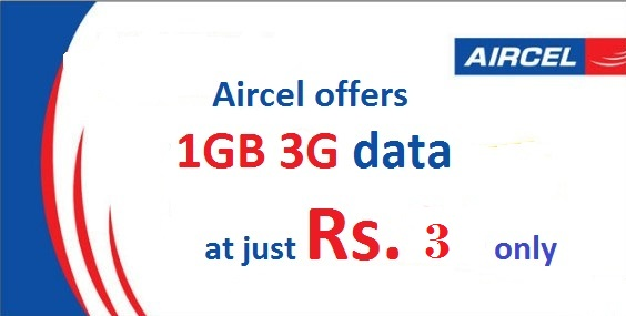 Aircel – Get 1GB 3G/2G Internet Data at Rs 3 for 1 Day