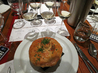 Chablis Grand Cru paired with Chicken Pot stuffed with Chestnut, Parsnip, Carrot, Peas, Tarragon and Beurre Blanc