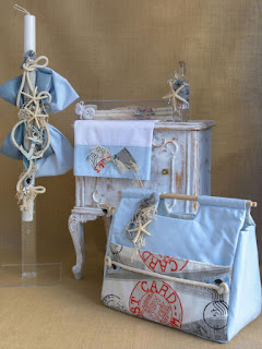 greek christening set with starfish for boy