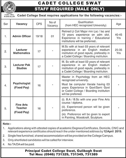 jobs in cadet College