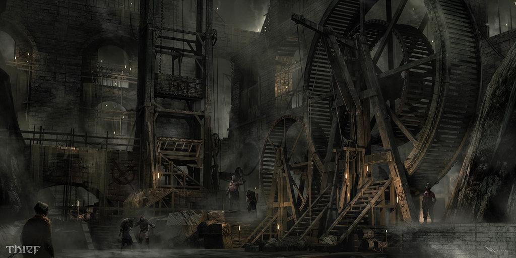 10-Human-Wheel-Mathieu-Latour-Duhaime-Concept-Art-for-Thief-Steampunk-feel-Video-Game-www-designstack-co