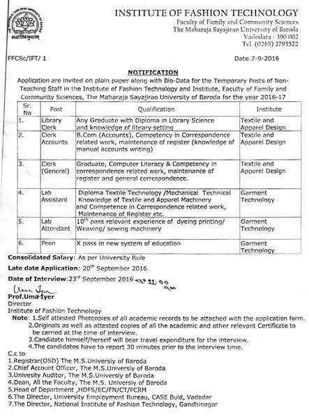MSU Baroda Non Teaching Staff Recruitment 2016