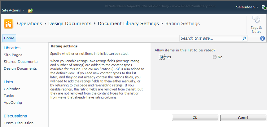 sharepoint 2010 enable rating feature