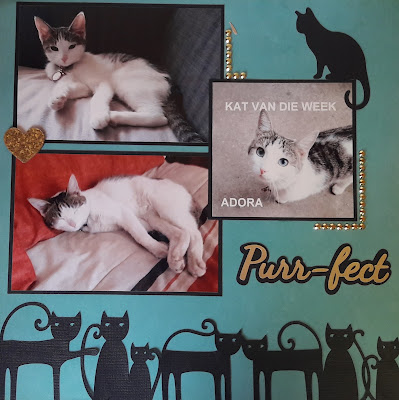 Double Page Cat Scrapbook Layout, purr-fect, pet, cat, Silhouette Cameo, Embellishments, Mint, cardstock, Eccentric Eclectic Studio
