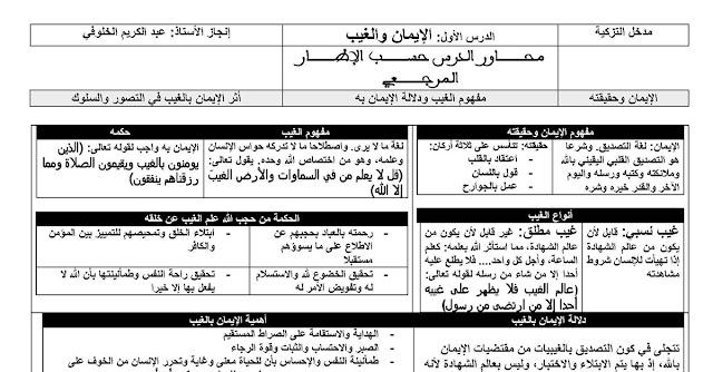 كل ملخصات دروس التربية الإسلامية للأولى باكالوريا وفق المنهاج الجديد