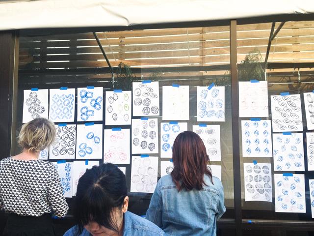 Surface printing workshop with Lotta Jansdotter   display of potato prints