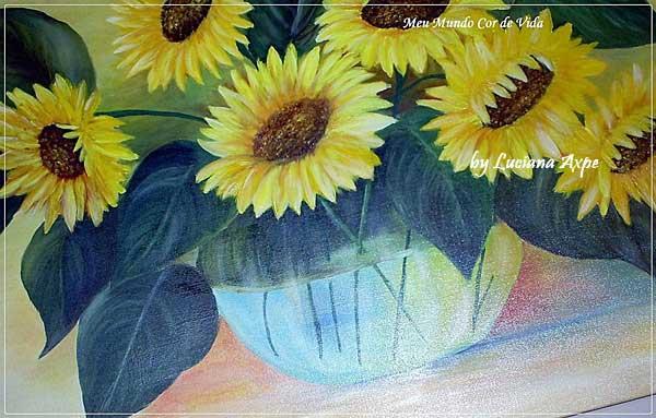 vaso de girassóis-óleo sobre tela