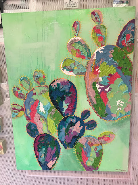 Abstract cactus painting
